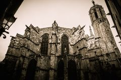 Cathedral in Barcelona, Spain Royalty Free Stock Images