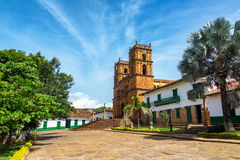 Cathedral in Barichara. Beautiful cathedral in the main plaza in the town of Barichara, Colombia Stock Photos