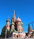 Cathedral of Basil Blessed in Moscow against the blue sky Stock Images