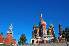 Cathedral of Basil Blessed in Moscow against the blue sky Stock Photo