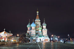 Cathedral of Basil Blessed and Moscow Kremlin at night Stock Image