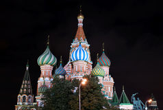 Cathedral of Basil Blessed and Moscow Kremlin at night Royalty Free Stock Images