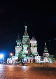 Cathedral of Basil Blessed and Moscow Kremlin at night Royalty Free Stock Image
