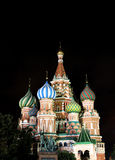 Cathedral of Basil Blessed in Moscow at night Stock Image