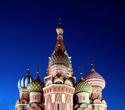 Cathedral of Basil Blessed in Moscow at night Royalty Free Stock Photography