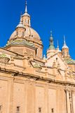 The Cathedral-Basilica of Our Lady of Pillar - a roman catholic church, Zaragoza, Spain. Close-up. Vertical. Royalty Free Stock Photo
