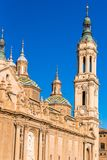 The Cathedral-Basilica of Our Lady of Pillar - a roman catholic church, Zaragoza, Spain. Copy space for text. Vertical. Royalty Free Stock Photography