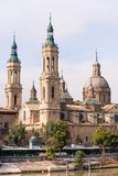 The Cathedral-Basilica of Our Lady of Pillar - a roman catholic church, Zaragoza, Spain. Copy space for text. Vertical. Royalty Free Stock Photos