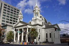 Cathedral Basilica of St. Joseph (San Jose). San Jose, California, United States - December 25, 2015: Cathedral Basilica of St. Joseph stock photo