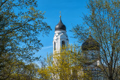 Cathedral behind the trees. Cathedral of the Archangel Michael. Photographed in the city of Lomonosov, Leningrad district, Russia Stock Photo