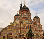 Cathedral. Beige and brown brick building Annunciation Cathedral in Kharkiv Royalty Free Stock Images