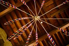 Cathedral Bell Ropes, Perspective From Down Up With Old Wooden Ceiling Royalty Free Stock Photos
