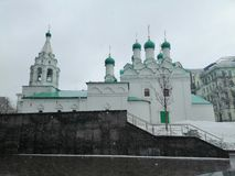 Cathedral with bell tower and domes. At  Moscow stock image