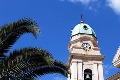 Cathedral bell tower, Gibraltar. stock photo