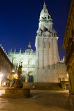 Cathedral Bell tower  in night time. Santiago de Compostela Stock Photo