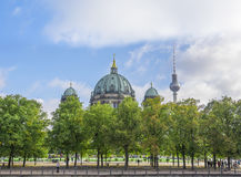 Cathedral in Berlin and Berlin TV tower Royalty Free Stock Images