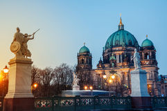 Cathedral in Berlin at sunset Royalty Free Stock Images