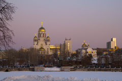 Cathedral on the Blood at night, Yekaterinburg Stock Photo