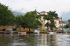 Cathedral and boats in Paraty Rio de Janeiro Stock Images