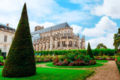 The Cathedral of St Etienne of Bourges, beautiful garden, France. Cathedral in Bourges, beautiful garden France. Sunny day. UNESCO World Heritage List stock images