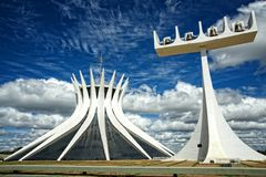 Cathedral of Brasilia, Brazil. Exterior of the Cathedral of Brasilia with a tower with bells on the side Stock Photos