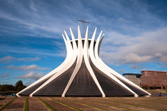 Cathedral of Brasilia. Brasilia, Brazil - June 6, 2015: Cathedral of Brasila. Designed by Oscar Niemeyer, it is a hyperboloid structure constructed from 16 Stock Photo