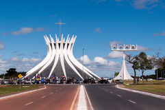 Cathedral of Brasilia. Brasilia, Brazil - June 7, 2015: Cathedral of Brasila. Designed by Oscar Niemeyer, it is a hyperboloid structure constructed from 16 Royalty Free Stock Image