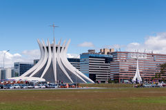 Cathedral of Brasilia. Brasilia, Brazil - June 7, 2015: Cathedral of Brasila. Designed by Oscar Niemeyer, it is a hyperboloid structure constructed from 16 Stock Photography