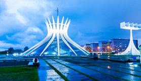 Cathedral of Brasilia at night, Brazil Stock Photography