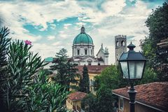 Cathedral in Brescia  panoramic view. Italy, hdr Royalty Free Stock Photos