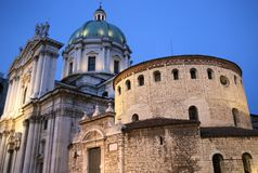 Cathedral of Brescia at twilight Royalty Free Stock Images