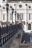 Cathedral, bridge and lanterns in Moscow Royalty Free Stock Images