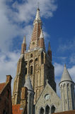 Cathedral in Brugge. Old cathedral of Brugge in summer clear day Royalty Free Stock Image