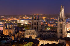Cathedral of Burgos tonight Stock Images