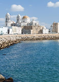 Cathedral of Cadiz. In neoclassical style with yellow dome, is next to the sea Royalty Free Stock Photos
