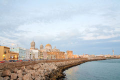 Cathedral in Cadiz. At dusk, Spain Royalty Free Stock Photos