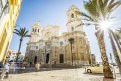Cathedral of Cadiz built between 1722 and 1838, Andalusia, Spain. Front view of Cathedral of Saint Cross of Cadiz, Andalusia, Spain Royalty Free Stock Photos
