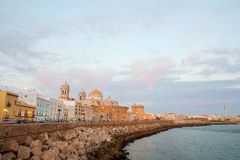Cathedral in Cadiz at dusk, Spain Royalty Free Stock Image