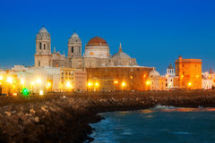 Cathedral of Cadiz in evening Royalty Free Stock Photography
