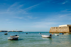Beach and Fishing Boats in Cadiz, Spain Stock Photography