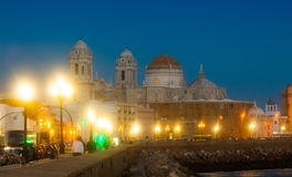 Cathedral of Cadiz in night Stock Photos