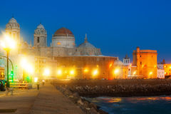 Cathedral of Cadiz in night  time Stock Photos