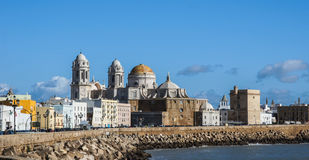 Cathedral of Cadiz, Spain. Cathedral of Cadiz, embankment, Atlantic Ocean, Spain Stock Photos