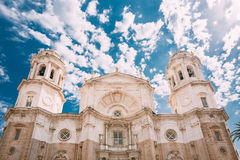 Cathedral in Cadiz, Spain. Sunny day Royalty Free Stock Photos