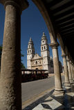 Cathedral of Campeche in the main plaza of the city Stock Photo