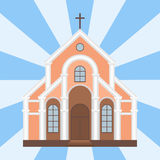Cathedral catholic church temple traditional building landmark tourism vector illustration Stock Photo
