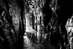 Cathedral Cave in black and white, Catlins, New Zealand Royalty Free Stock Image