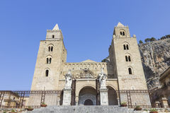 Cathedral of Cefalù, Sicily Italy. Low View of Cefalù Duomo, Palermo, Italy Royalty Free Stock Photos