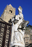 Cathedral of Cefalu. Statue and tower cathedral of Cefal royalty free stock photo