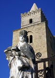 Cathedral of Cefalu. Statue and tower cathedral in Cefal royalty free stock images